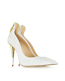 White Croco Embossed Leather Pump