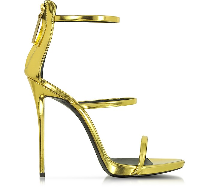 Gold Metallic Leather Sandal - Giuseppe Zanotti