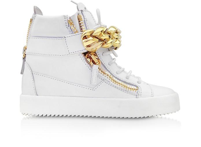 白色皮革高帮运动鞋配链条细节 - Giuseppe Zanotti