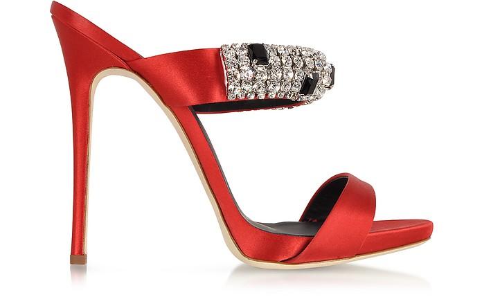 Flame Red Satin Mule w/Crystal - Giuseppe Zanotti