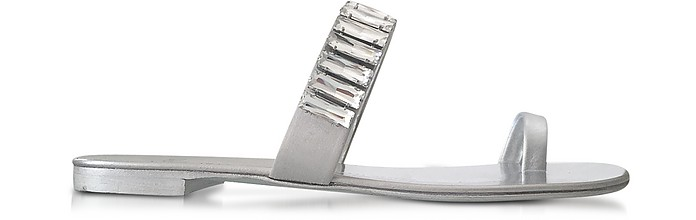 Pia Silver Leather Flat Sandal w/Crystals - Giuseppe Zanotti