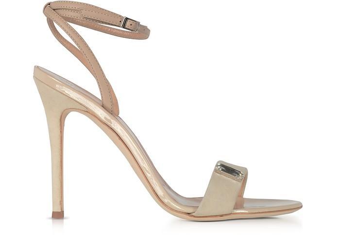 Beige Suede and Leather High Heel Sandal w/Crystal - Giuseppe Zanotti
