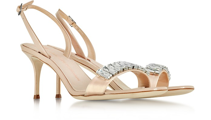 Giuseppe Zanotti Designer Shoes, Powder Satin and Patent Leather Mid Heel Sandal w/Crystals