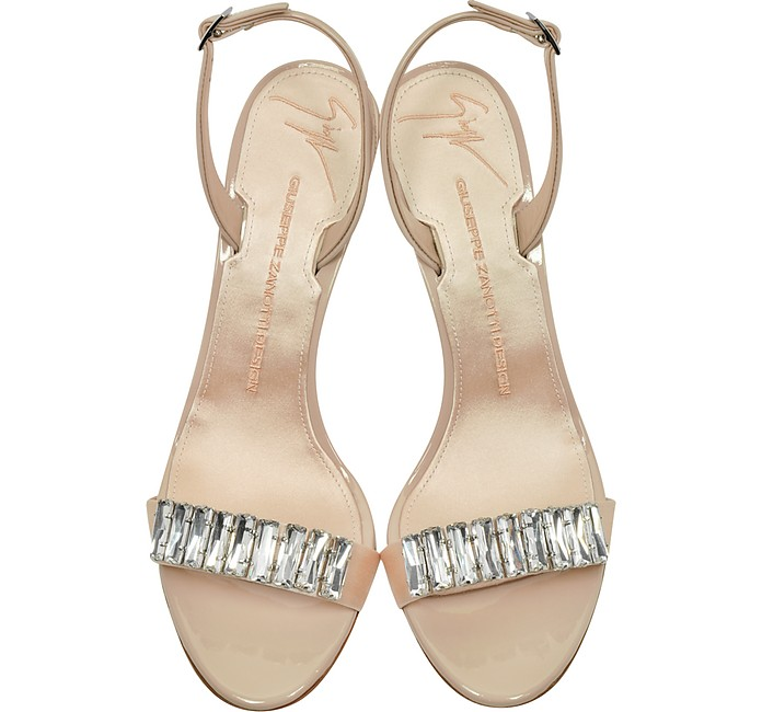 GIUSEPPE ZANOTTI Leathers POWDER PINK SATIN AND PATENT LEATHER MID HEEL SANDAL W/CRYSTALS