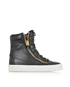 Black Leather and Crystals Sneaker
