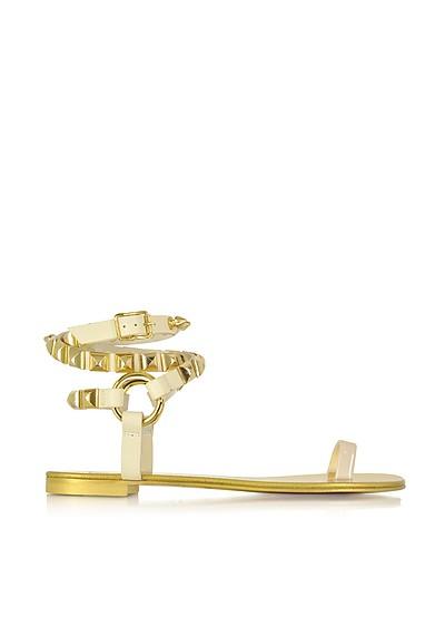 Pia Sand Leather Ankle Wrap Flat Sandal w/Studs - Giuseppe Zanotti
