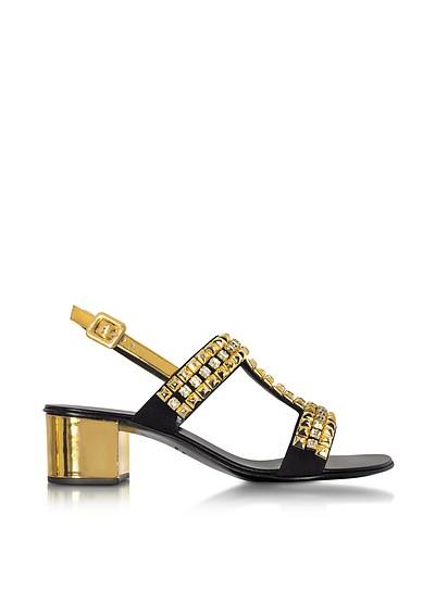 Debra Laminated Leather Mid Heel Sandals W/Crystals - Giuseppe Zanotti