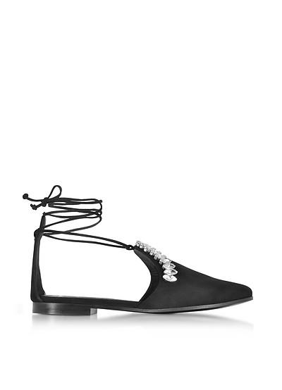 Black Suede Flat Mule w/Ankle Wrap - Giuseppe Zanotti