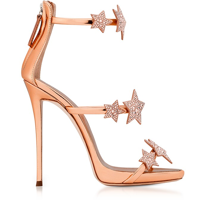 Armony Star Copper Laminated Leather High Heel Sandals - Giuseppe Zanotti