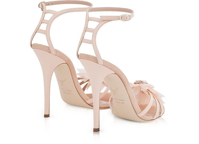 d7793a65d74e0 Annemarie Pink Patent Leather High Heel Sandals w/Flower - Giuseppe Zanotti.  80% Off