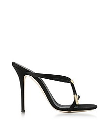 Black Satin High Heel Alien Sandals - Giuseppe Zanotti