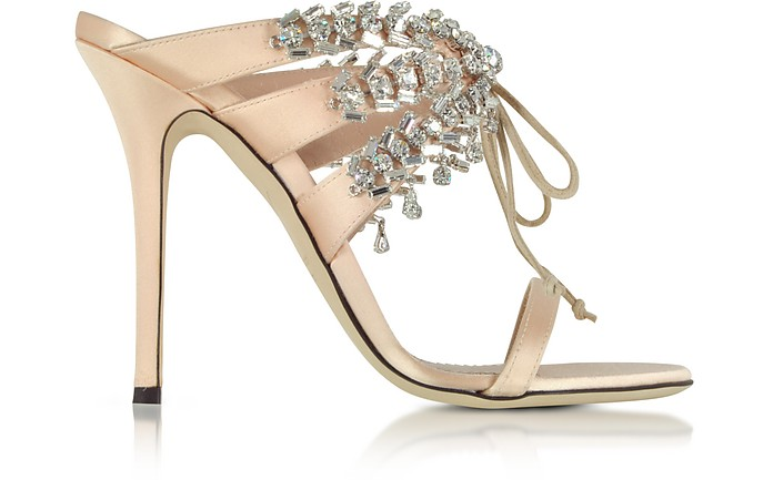 Nude Satin and Crystals High Heel Slide Sandals - Giuseppe Zanotti