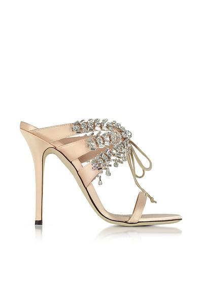 Nude Satin and Crystals High Heel Slide Sandals - Giuseppe Zanotti