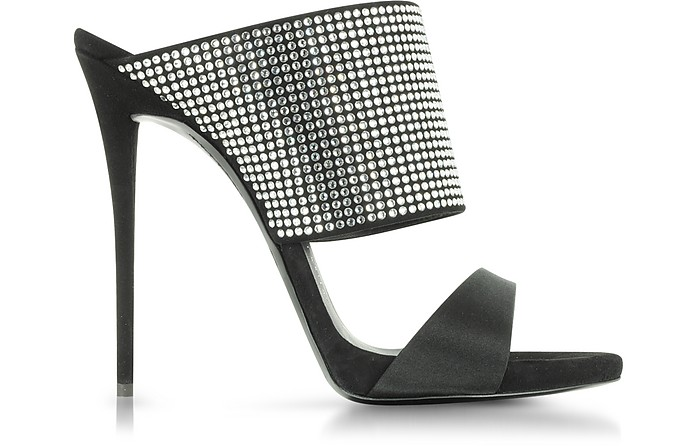 Black Satin Mule With Crystal Detail - Giuseppe Zanotti