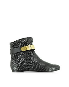 Black Croco Embossed Leather Boot w/Metal Strap