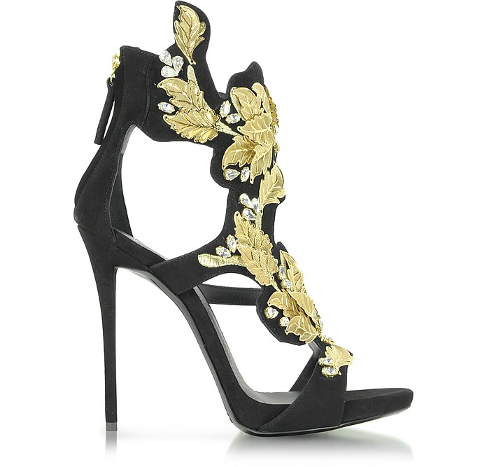 d042d0768aa39 Black Suede High Heel Sandal w Crystal and Gold Leaf Filigree Detail - Giuseppe  Zanotti