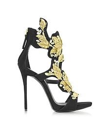 Black Suede High Heel Sandal w/Crystal and Gold Leaf Filigree Detail