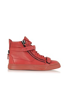 London Red Leather and Metal High-Top Sneaker
