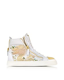 London Vaky Off White Dragon Embroidered and Leather High-Top Sneaker