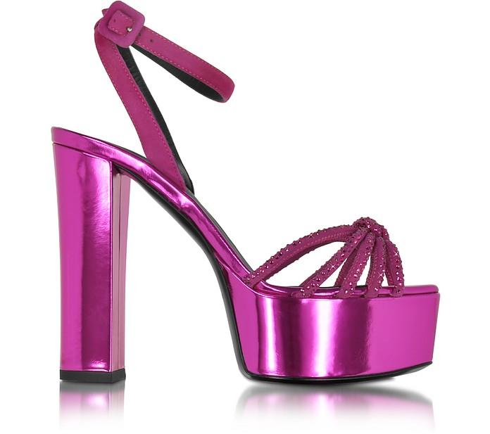 Lavinia Fuchsia Metallic Leather Platform Sandal