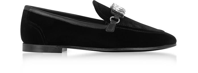 Black Velvet Loafers w/Crystals - Giuseppe Zanotti