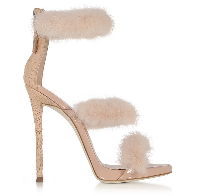 262acaf3dfdb Blush Patent and Croco Embossed Leather High Heel Sandals w Fur - Giuseppe  Zanotti