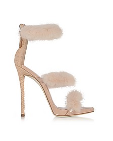 Blush Patent and Croco Embossed Leather High Heel Sandals w/Fur - Giuseppe Zanotti