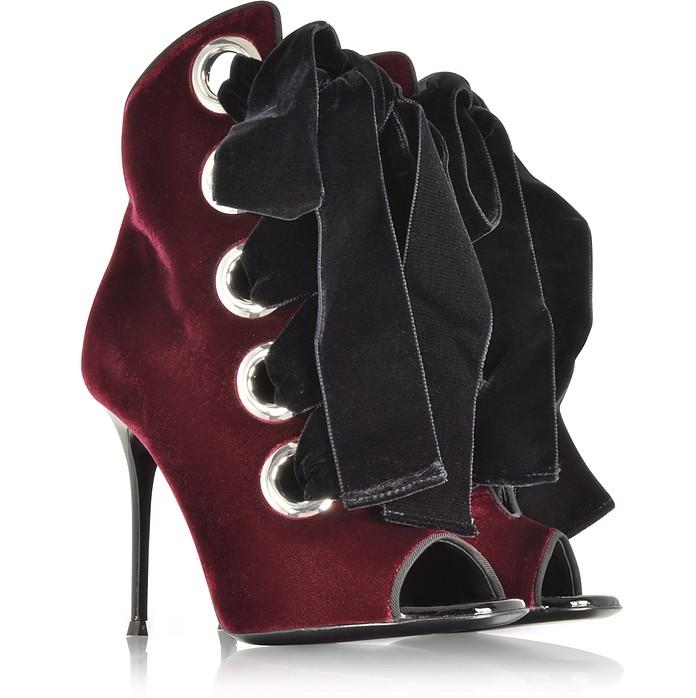 Giuseppe Zanotti Jeans Jeannine Amaranto Red Velvet Open-toe Bootie