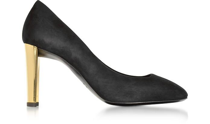 Black Suede Pump w/Golden Heel - Giuseppe Zanotti