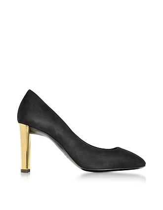 1b2689baf9de2 Black Suede Pump w/Golden Heel - Giuseppe Zanotti