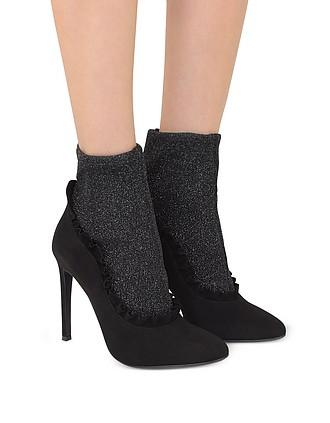 73f93acb1f692 80% Off. Add to wishlist. Black Suede and Glitter Stretch Fabric High Heel  Booties - Giuseppe Zanotti