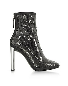 Luce Black Sequined High Heel Ankle Bootie - Giuseppe Zanotti