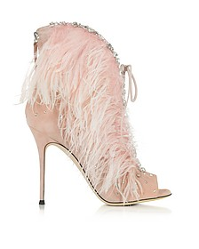 Charleston Pink Suede and Feathers High Heel Sandals - Giuseppe Zanotti