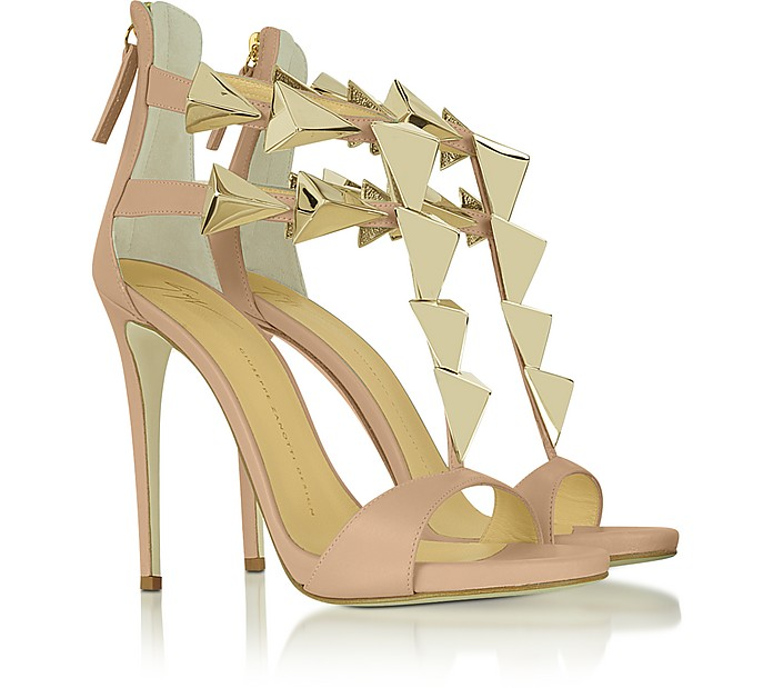 Golden Pyramid Studs Leather Sandal - Giuseppe Zanotti
