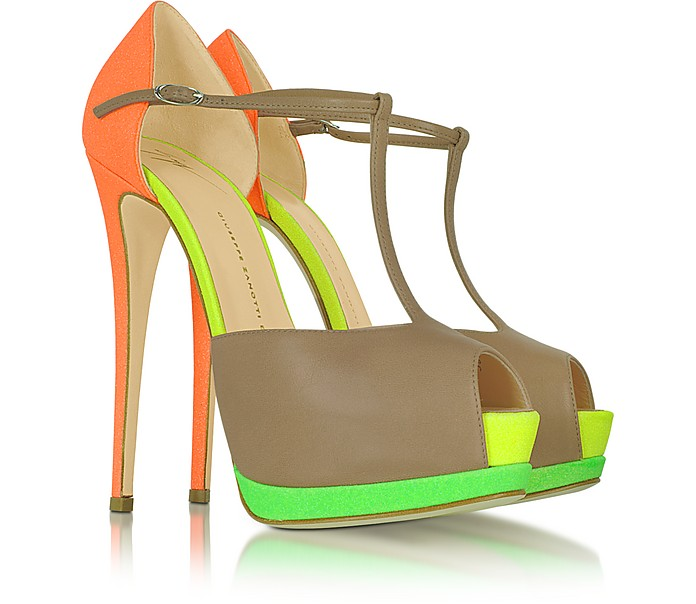 Color Block Leather Platform Sandal - Giuseppe Zanotti