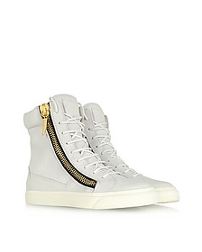 White Tumbled Calfskin High-top Sneaker