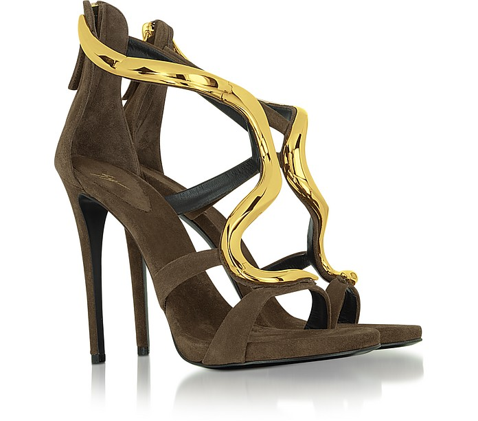 Brown Suede Jeweled Sandal - Giuseppe Zanotti
