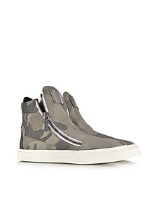 Camo Leather High-Top Sneakers
