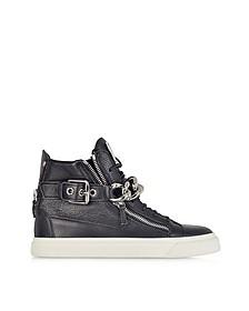 Black Leather Metal Chain Sneaker