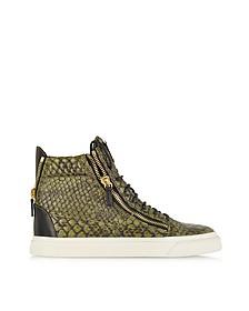 Green Croco Embossed Leather Sneaker