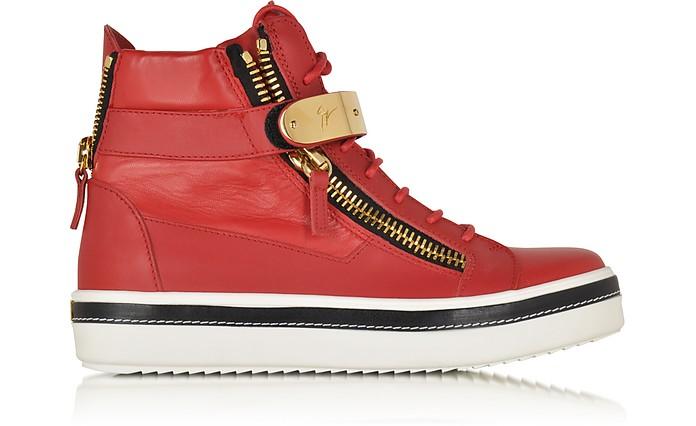 Red Nappa Leather High Top Sneaker - Giuseppe Zanotti