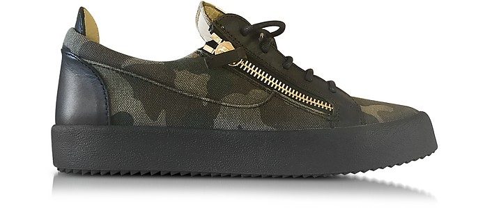 b9132e0e149b1 Military Green Camouflage Fabric and Black Leather Low Top Men's Sneaker - Giuseppe  Zanotti