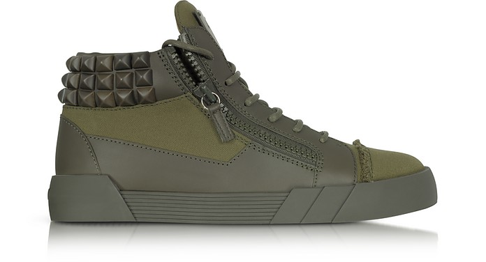 8cf7bc0eae8a9 Commando Military Green Canvas and Leather Studded Sneakers - Giuseppe  Zanotti