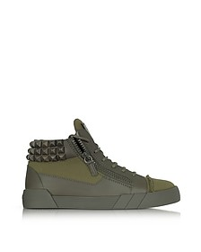 Commando Military Green Canvas and Leather Studded Sneakers - Giuseppe Zanotti