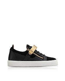 Black Leather and Suede Archer Men's Sneakers - Giuseppe Zanotti