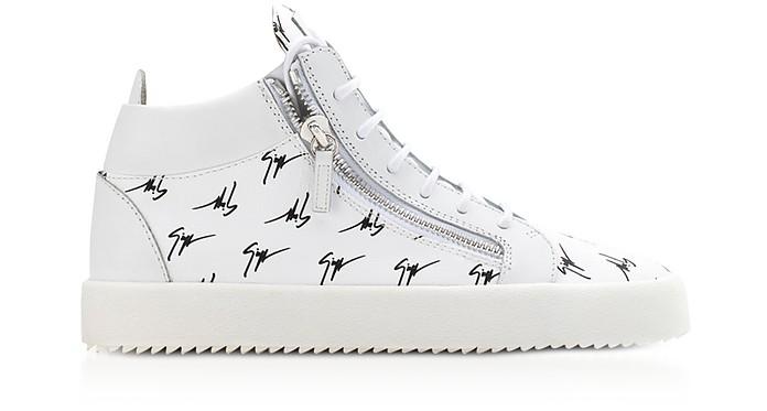b16bbf9cd11b5 Sneakers Mi-montantes Homme en Cuir Blanc avec Logo Signature - Giuseppe  Zanotti
