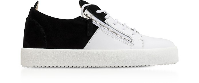 99fbea7e83a9f1 Giuseppe Zanotti White Leather and Black Suede Double Men s Sneakers ...