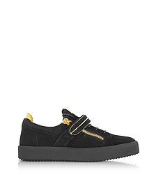Black Suede Low Top Men's Sneakers - Giuseppe Zanotti