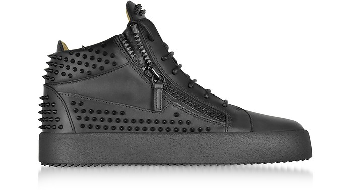 Black Studded Leather High Top Sneakers