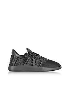 Sneakers Runner Low Top in Pelle 3D Nera con Borchie - Giuseppe Zanotti